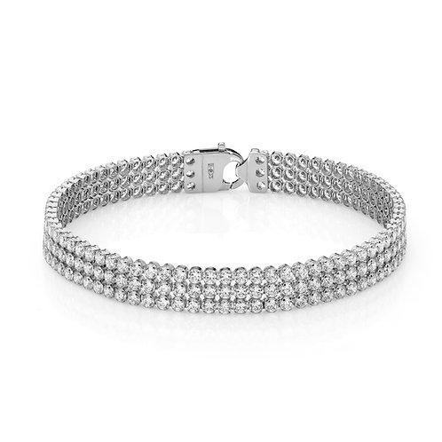 9ct White Gold Triple Row Tennis Bracelet