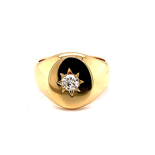 Men's 9ct Gold Oval Head Signet Ring with Diamond