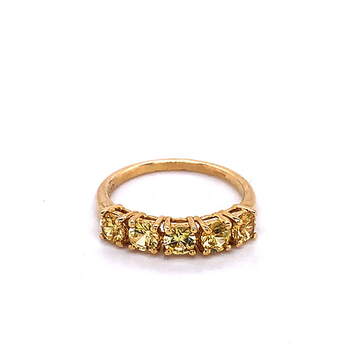 9ct Gold Five Stone Yellow Sapphire Ring