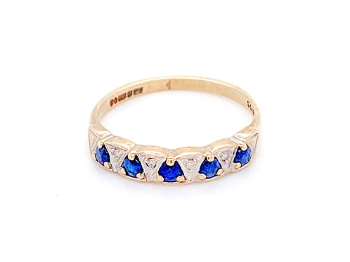 9ct Gold Blue Sapphire and Diamond Ring