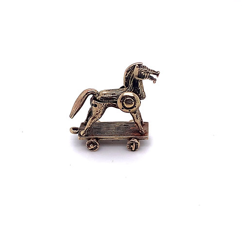 Wooden Horse Charm in 9ct Gold