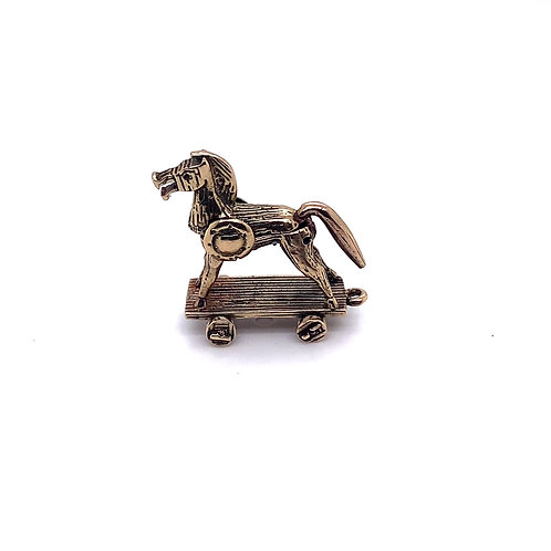Wooden Horse Charm in 9K Gold