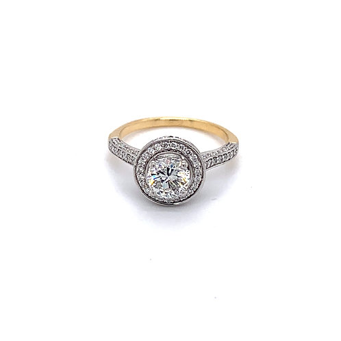 Round Diamond Halo with Shoulder Set Engagement Ring in 9ct Gold