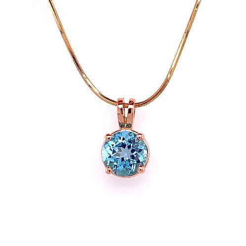 London Blue Topaz 9ct Rose Gold Pendant