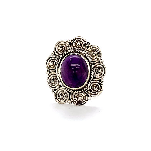 Oval Amethyst Patterned Ring