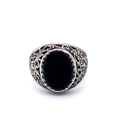 Oval Signet Onyx Silver Ring