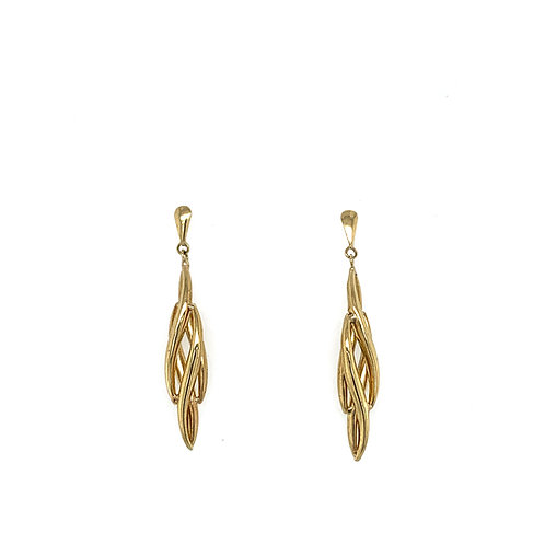 Feather Shaped Yellow Gold Drop Earrings
