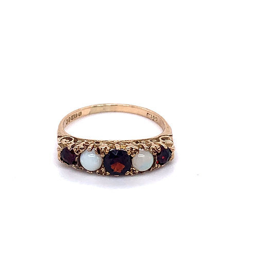 9ct Gold 5 Stone Ruby and Opal Ring