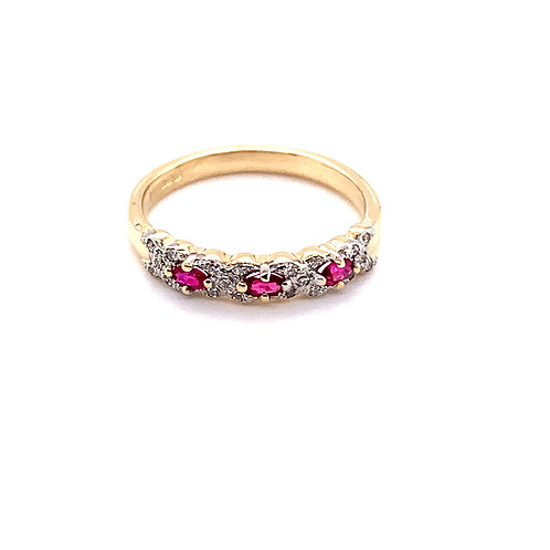 Ruby and Diamond Ring in 9ct Gold