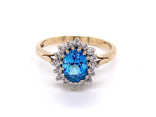 9ct Gold Blue Sapphire and Diamond Diana Ring