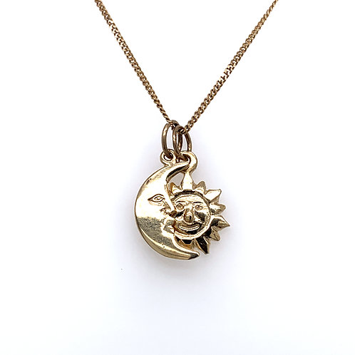Crescent Moon And Sun 9ct Yellow Solid Gold Pendant