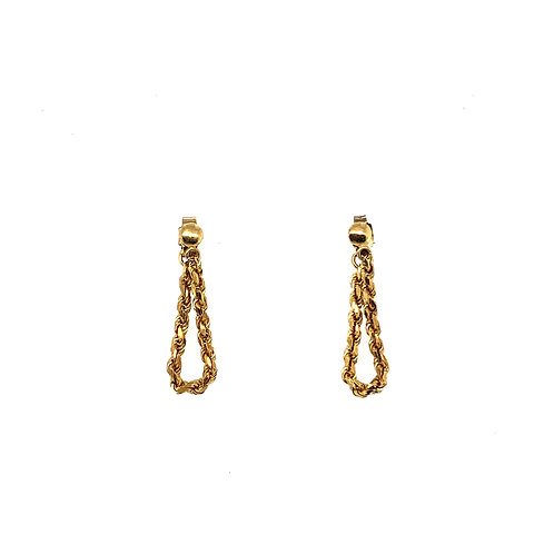 Chain Link Yellow Gold Earrings