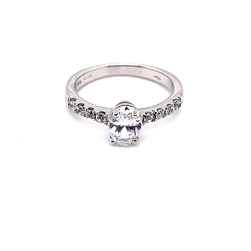 Oval Solitaire with Diamond Scallop Set Band in 9ct Gold
