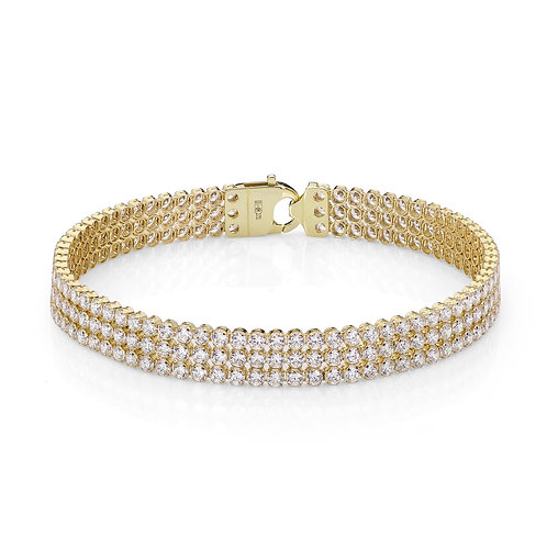 9CT YELLOW GOLD TRIPLE ROW TENNIS BRACELET