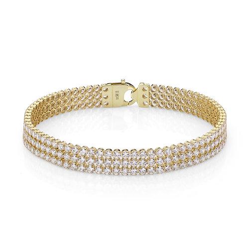 9ct Yellow Gold Triple Row Tennis Bracelet