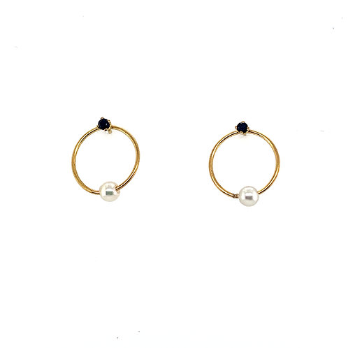Pearl Ball Hoop Earrings
