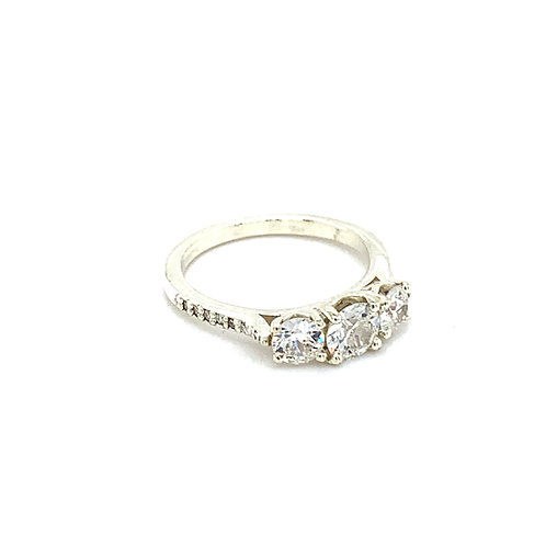 Three Stone Trilogy Diamond Engagement Ring with Diamond Set Shoulders