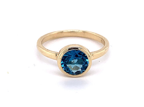 9ct Gold Blue Topaz Rubover Stacking Ring