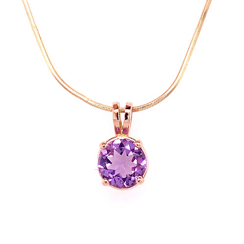 Amethyst 9ct Rose Gold Pendant