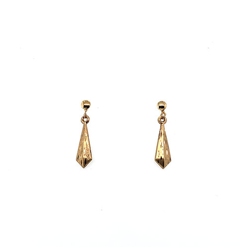 Diamond Shaped Yellow Gold Drop Earrings