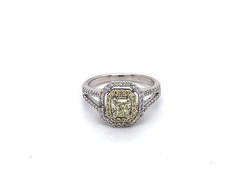 Double Halo Diamond Cushion Engagement Ring