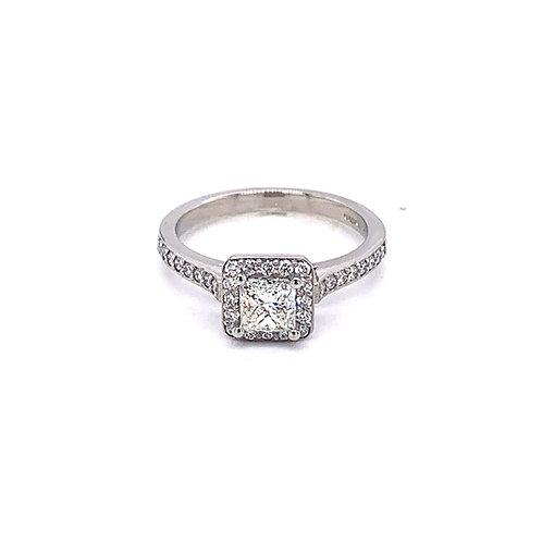 Princess Shoulder Set Halo Diamond Engagement Ring in 9ct Gold