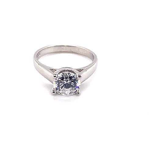 Round 4 Claw Diamond Solitaire Ring in V Design Setting