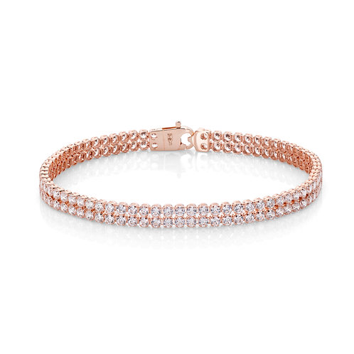 9ct Rose Gold Double Row Tennis Bracelet