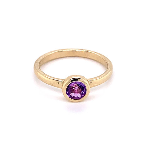 9ct Gold Amethyst Rubover Stacking Ring