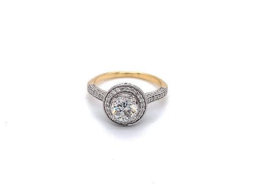 Round Diamond Halo with Shoulder Set Engagement Ring