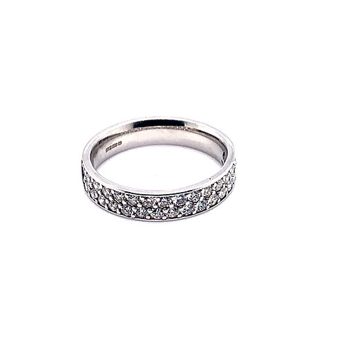 Twin Row Diamond Half Eternity Ring