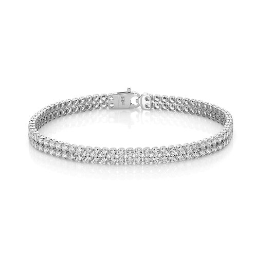 9ct White Gold Double Row Tennis Bracelet