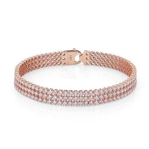 9ct Rose Gold Triple Row Tennis Bracelet