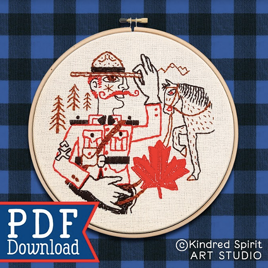 Hand Embroidery Canada Design - PDF Pattern Download - Mountie & Horse