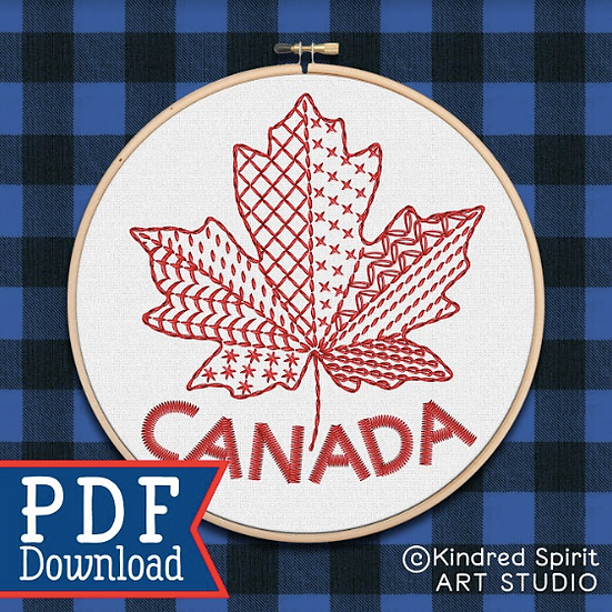 Hand Embroidery Canada Design - PDF Pattern Download - Red Maple Leaf