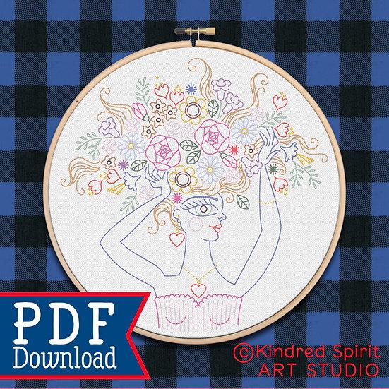 Hand Embroidery Selfie Flower Girl PDF Pattern Download - 7 inch design