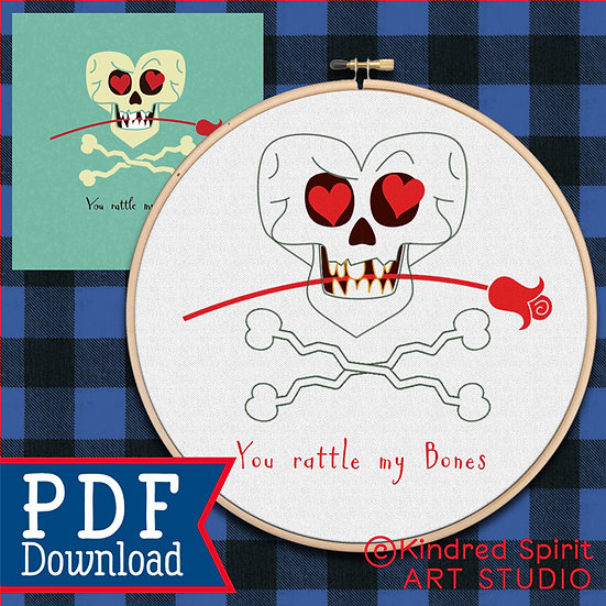 Valentines Day Hand Embroidery Pattern + Gift Card - You rattle my bones P