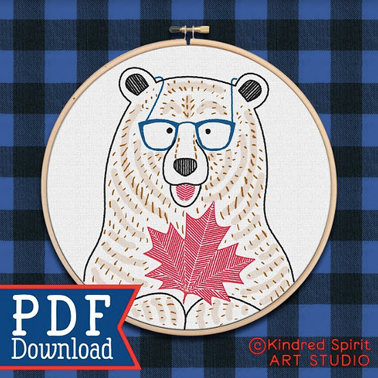 Hand Embroidery Canada Design - PDF Pattern Download - Bear and Maple Leaf