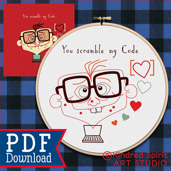 Valentines Day Hand Embroidery Pattern + Gift Card - You scramble my code
