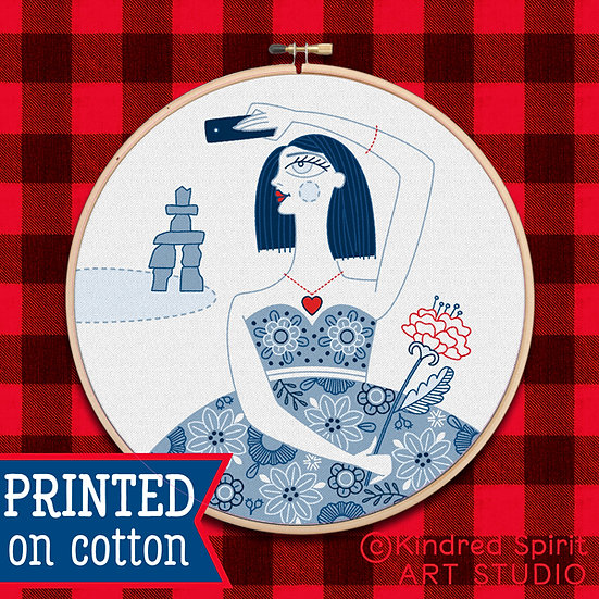 Hand Embroidery Kit - Pre-Print Design on Fabric of Flower Girl Selfie