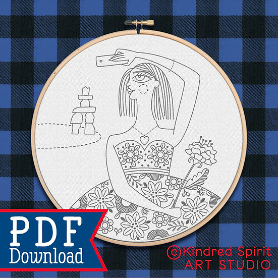 Hand Embroidery Selfie Flower Girl PDF Pattern Download - 7 inch design