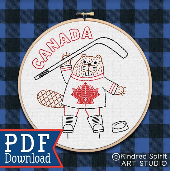 Hand Embroidery Pattern - Personalised ADD-ON for Hockey Beaver - PDF Pattern