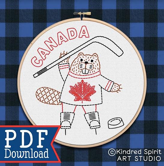 Hand Embroidery Canada Design - PDF Pattern Download - Beginner - Hockey Beaver
