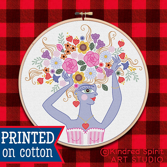 Hand Embroidery Kit - Pre-Print Design on Fabric of Flower Girl 7 inch