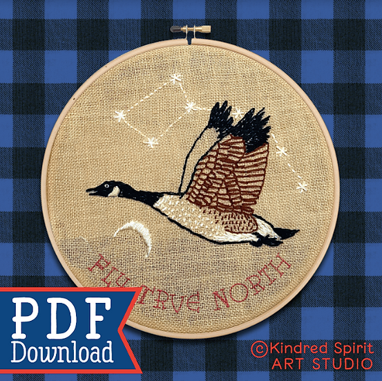 Hand Embroidery Canada Design - PDF Pattern Download -True North Snow Goose