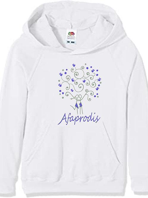 Sudadera blanca unisex con capucha y logo Afaprodis