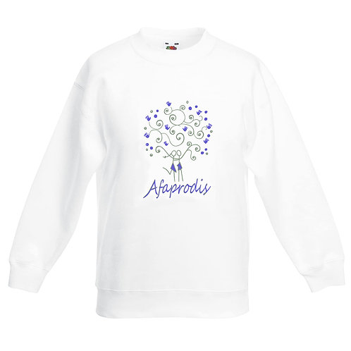 Sudadera blanca unisex con logo Afaprodis