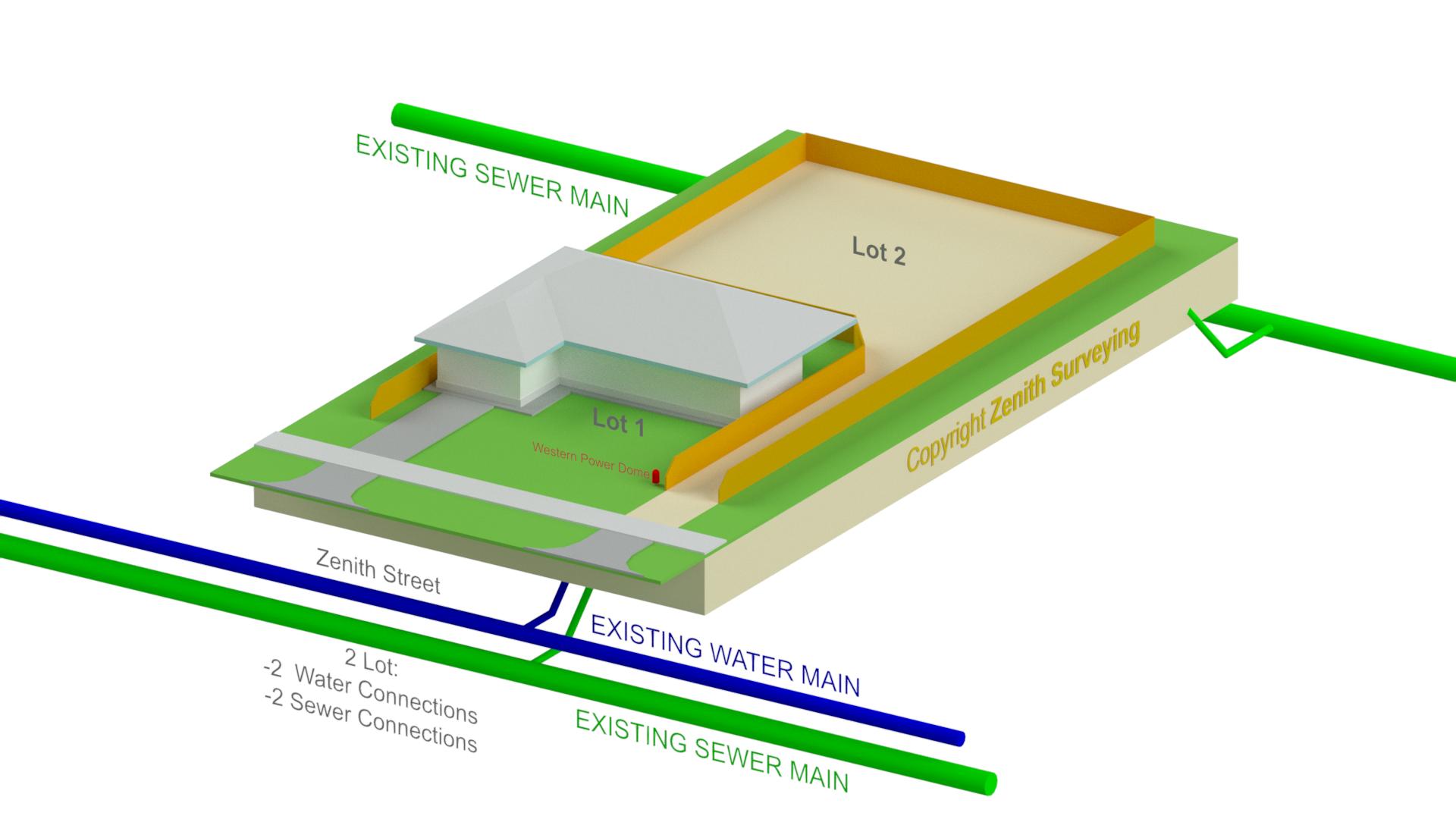 Rear Lot Survey Strata Subdivision 3D Illustration