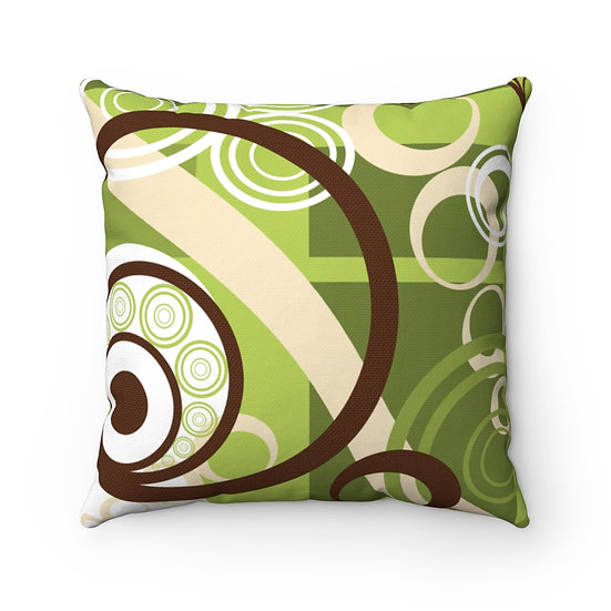 Artist design Green Brown 1 Spun Polyester Square Pillow Case