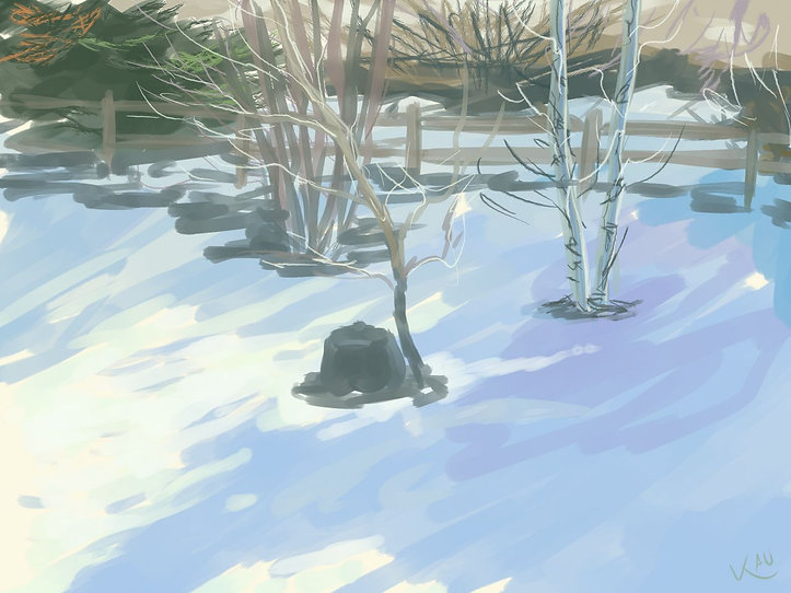 Plein Air of Backyard in Snow